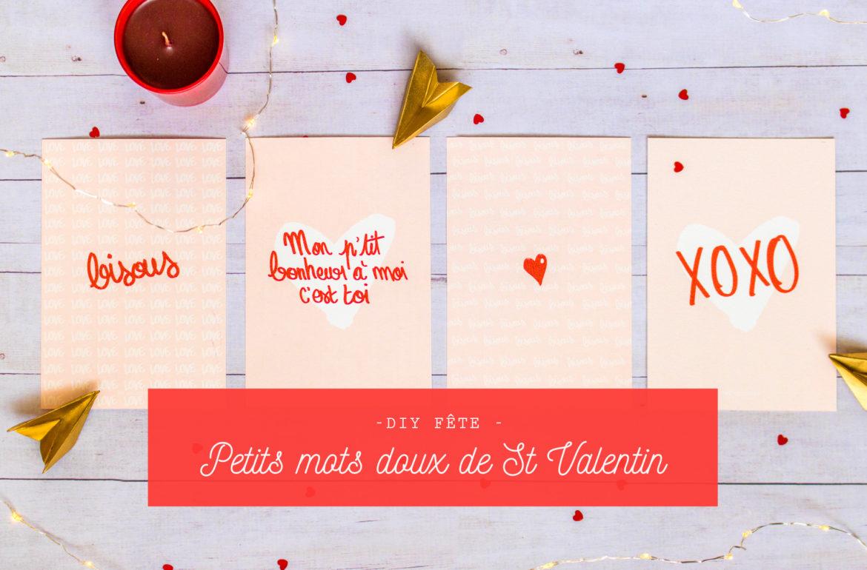 Cartes petits mots doux St Valentin